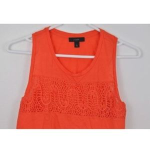 J Crew XS Shirt Lace Cotton Orange Sleeveless Tank